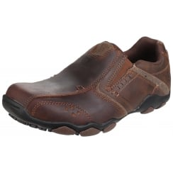 Dark Brown Leather Diameter Selent flat slip on trainer style shoe