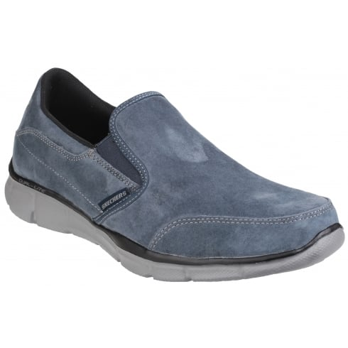 Skechers Denim Blue Navy Leather Equaliser Mind Game Slip On Shoe