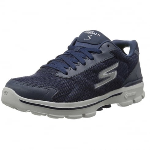 Navy Go Walk 3 Fit Knit Lace Up Trainer