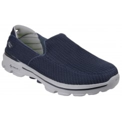 Navy/Grey flat slip on trainer style shoe